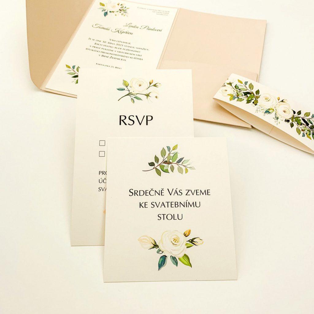 RSVP kartička, svatební pozvání.