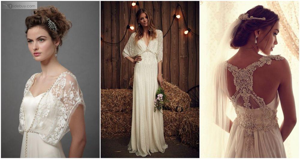 Secesní svatební šaty, vintage svatební šaty.