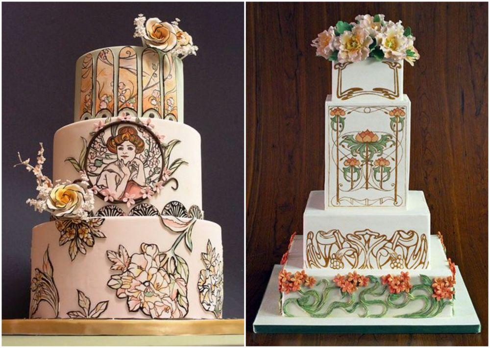 Svatební dort ve stylu Alfonse Muchy.