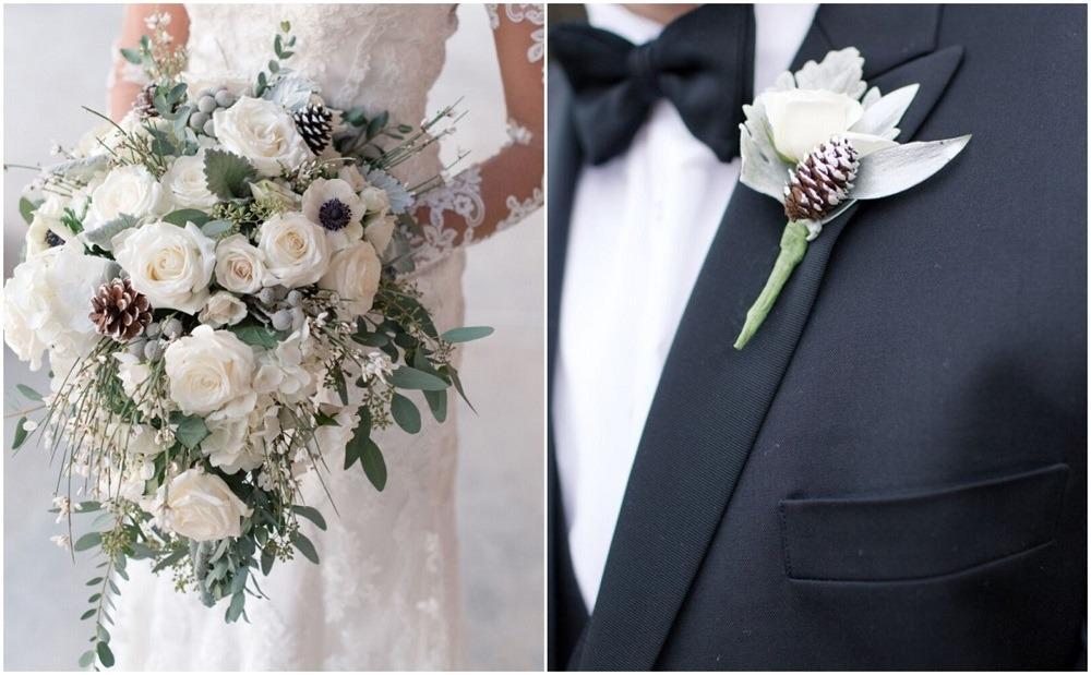 Zimní svatba, zimní svatební kytice, zimní korsáž.
