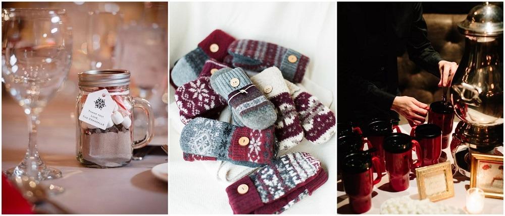 Zimní svatba, zimní dárky pro svatební hosty.