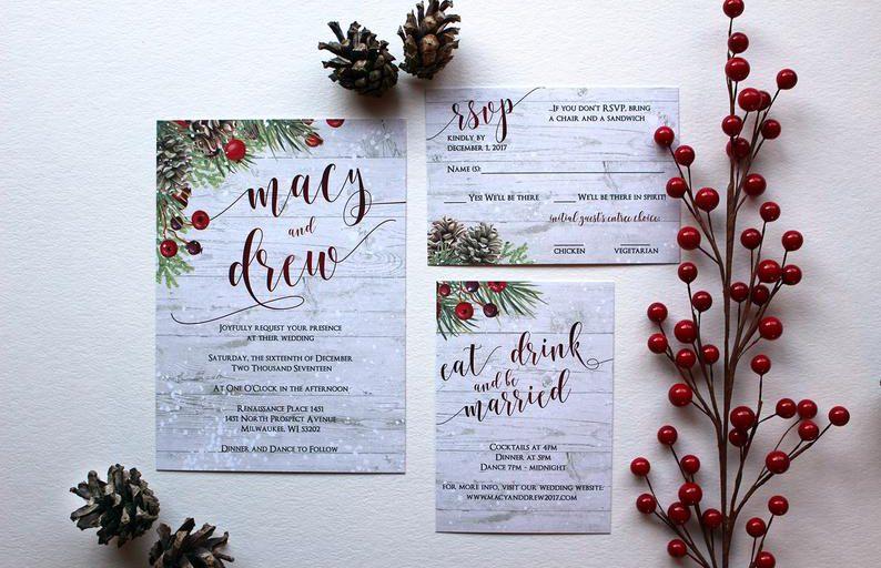 Zimní svatební oznámení, svatební pozvánky.
