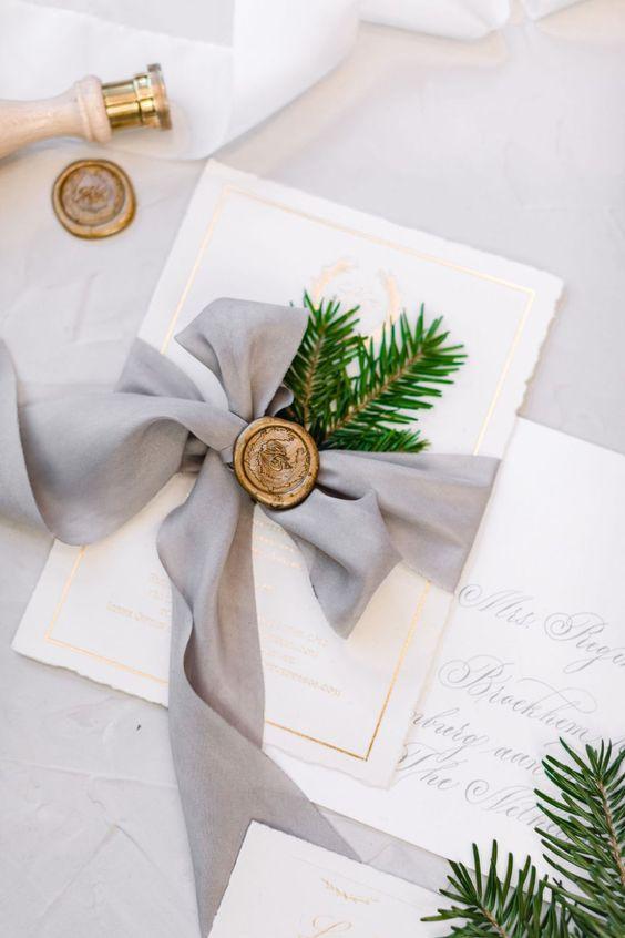Svatební pozvánky, zimní svatební oznámení.