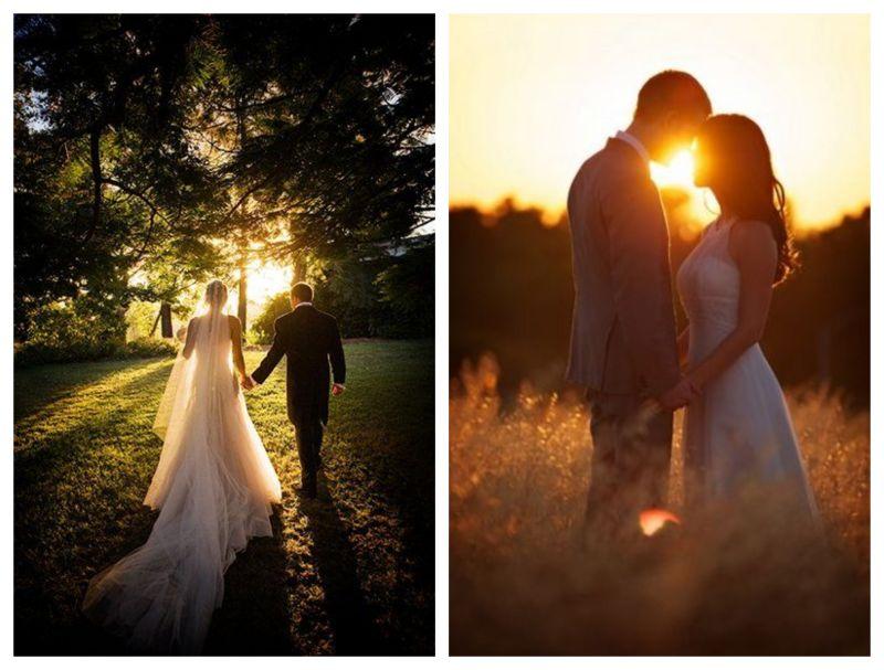 Svatební portrét v zapadajícím slunci