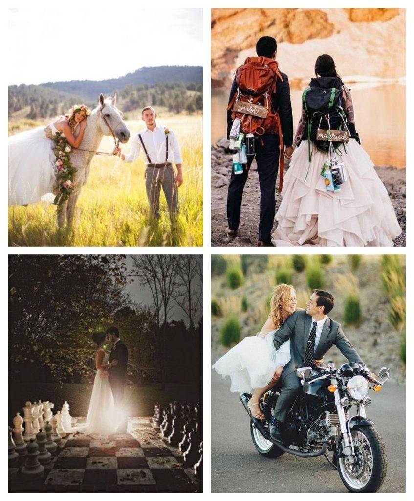 Neobvyklé svatební portréty novomanželů