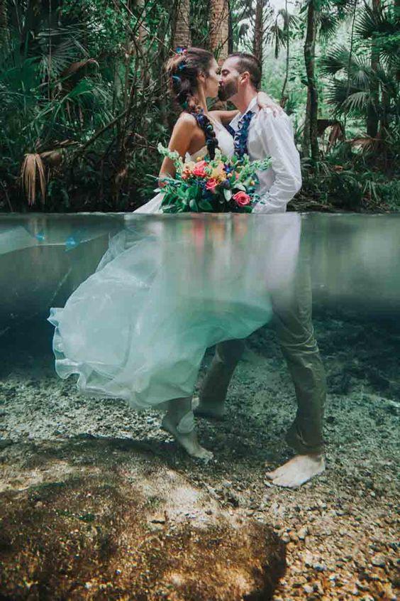 Svatební fotky ve vodě