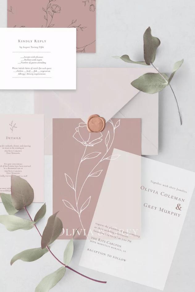 Květinové svatební pozvánky