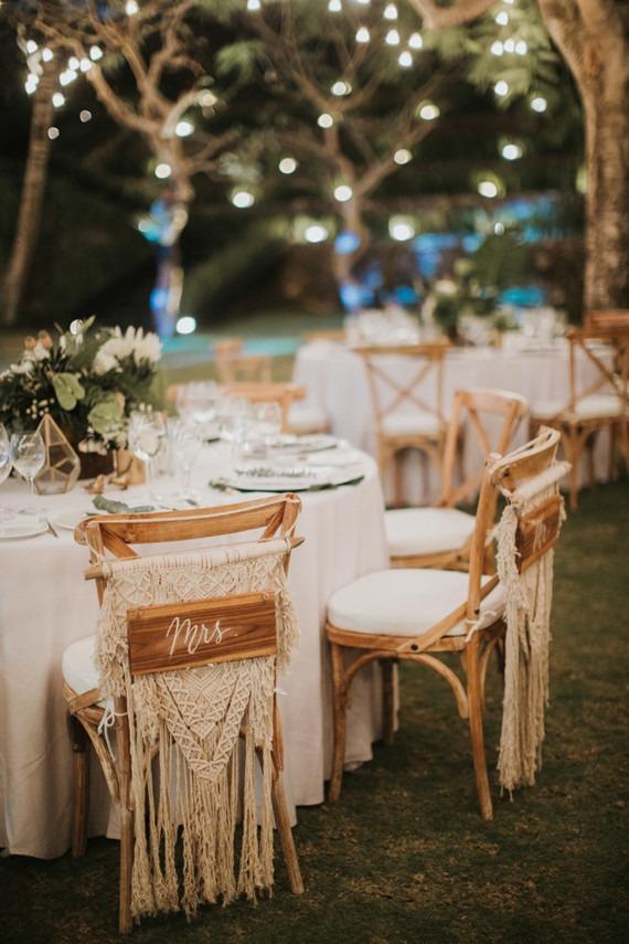 Macrame svatební dekorace, boho svatba