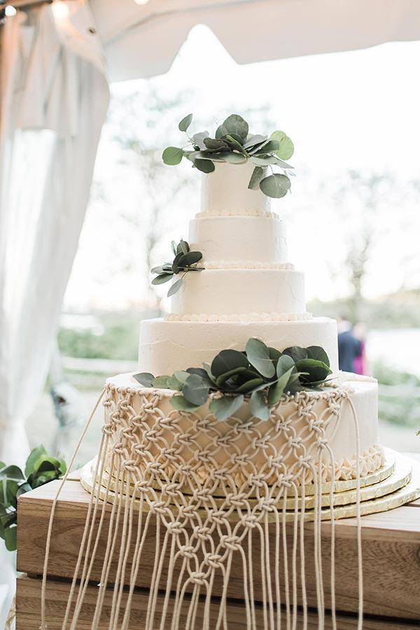 Macramé svatební dort, boho svatba