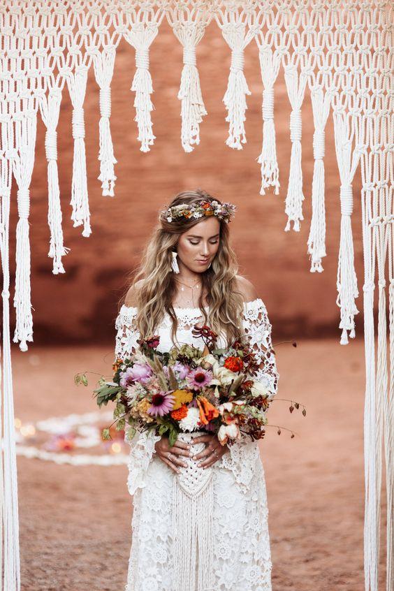 Svatební macramé dekorace, boho svatba, nevěsta