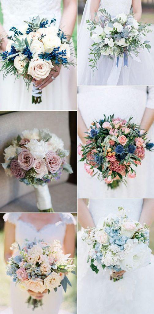Modré jarní svatební kytice
