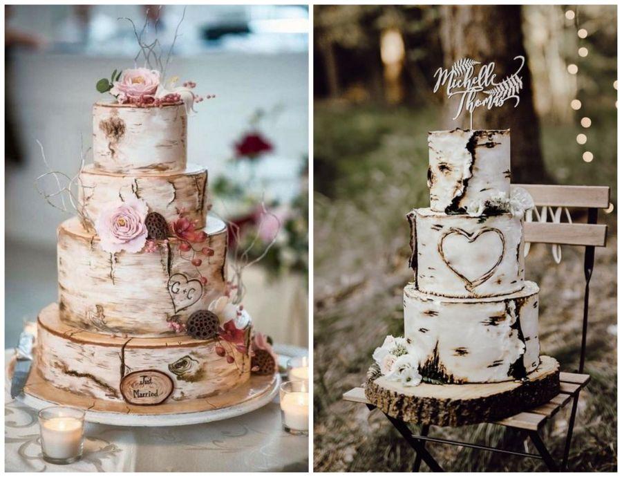 Svatební dorty s motivem dřeva