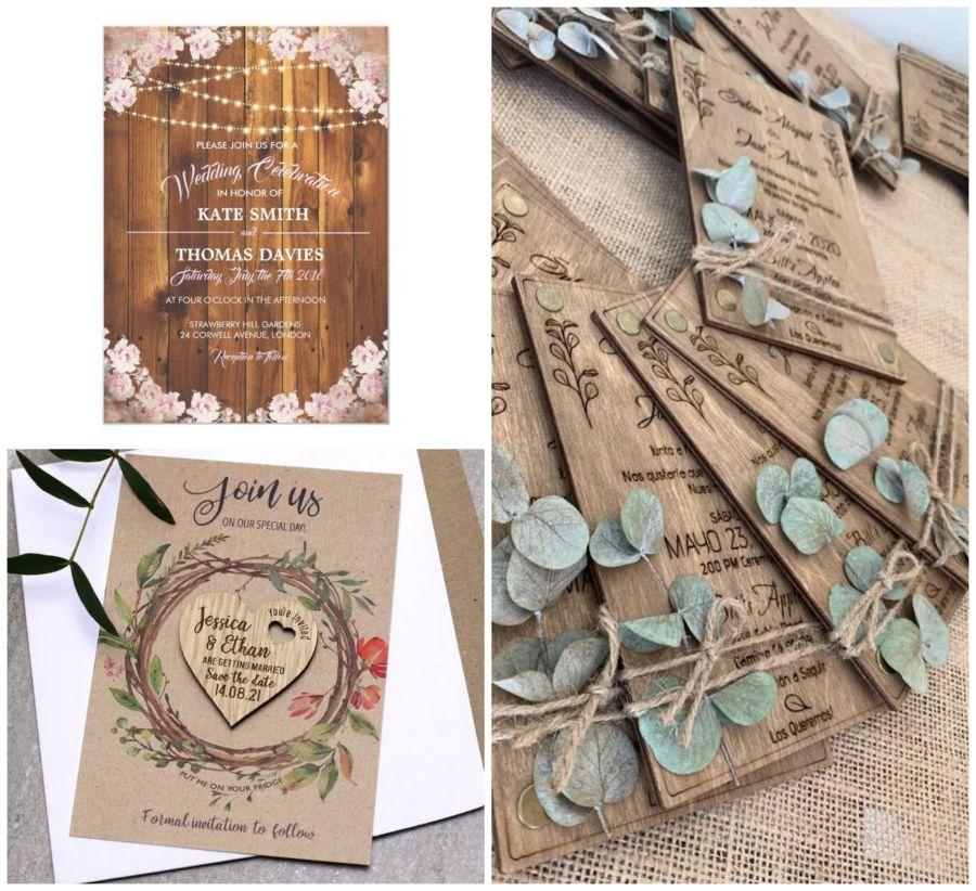 Dřevěné svatební pozvánky
