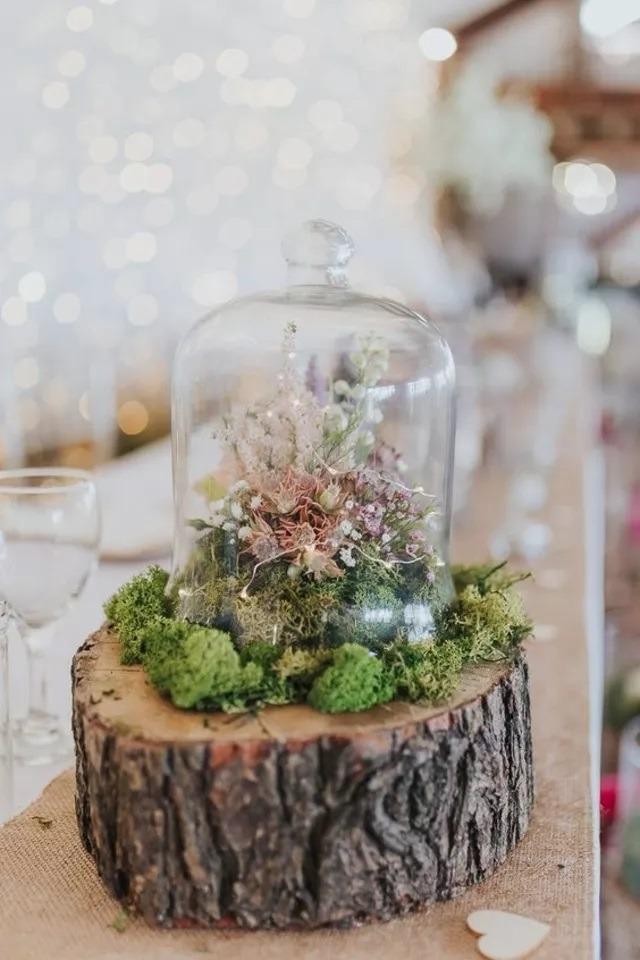 Svatební výzdoba, florárium na svatební stůl
