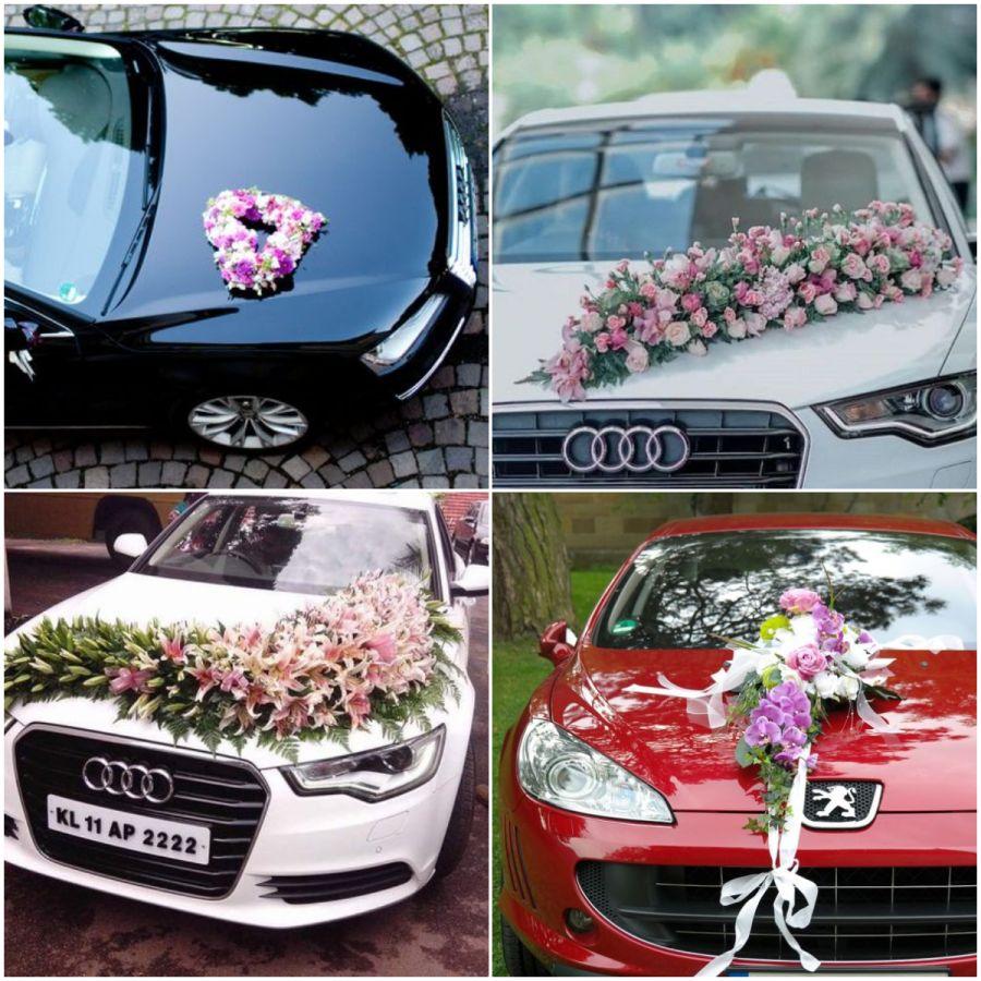 Květiny na auto nevěsty
