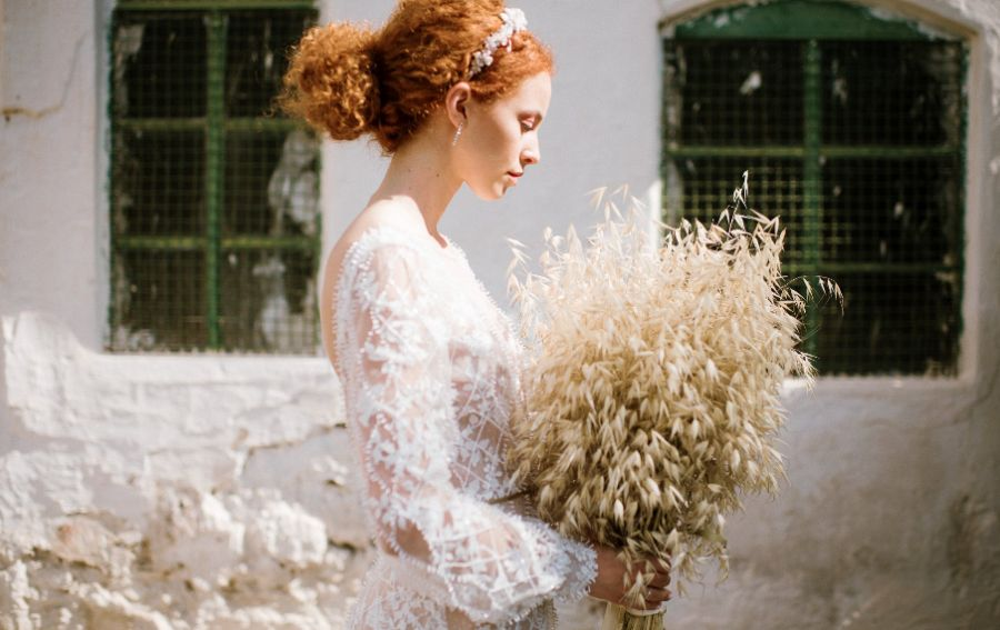 MoHo svatba, moderní boho nevěsta, účes pro nevěstu, sušená svatební kytice
