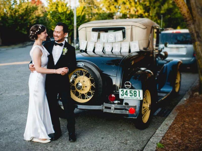 Výzdoba auta pro novomanžele