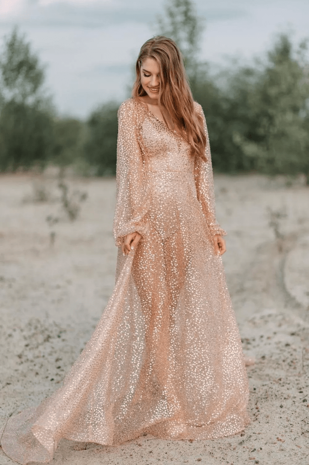 Svatební šaty růžové zlato, rosegold