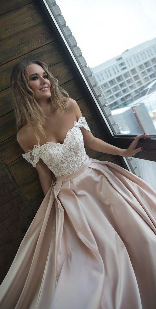 Svatební šaty cappuccino, béžové