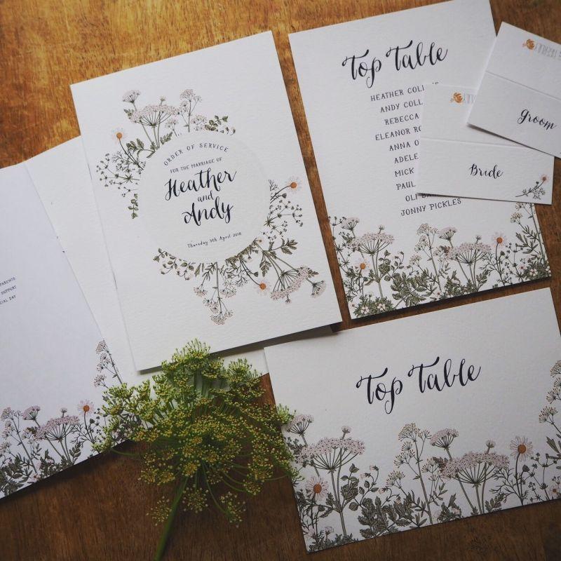 Ručně psaná svatební oznámení, romantická svatební oznámení, rostlinné motivy