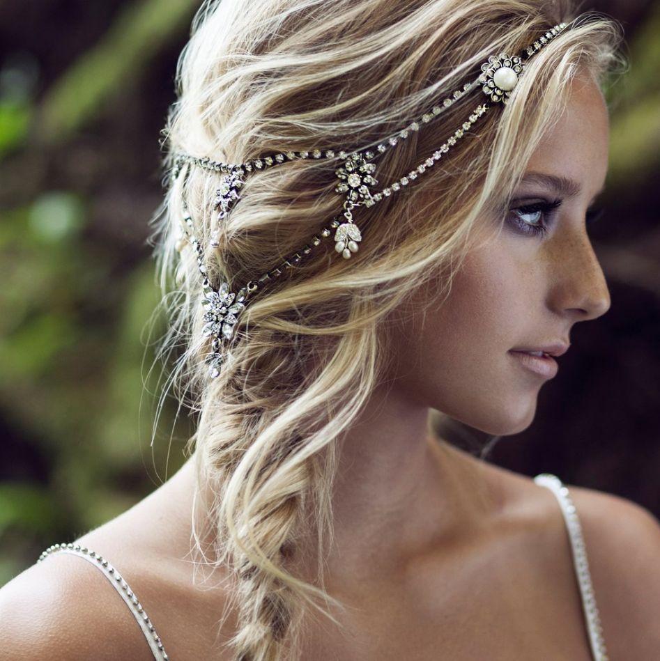 Svatební ozdoby do vlasů, řetízek do vlasů, vintage řetízek
