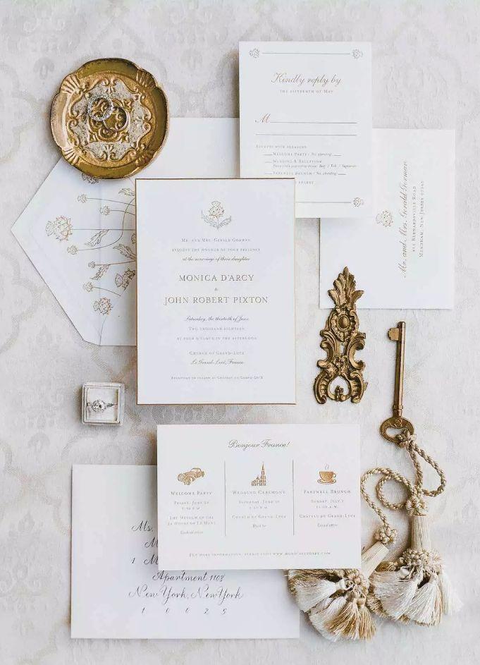 Elegantní svatební pozvánky, zlatobílá svatba