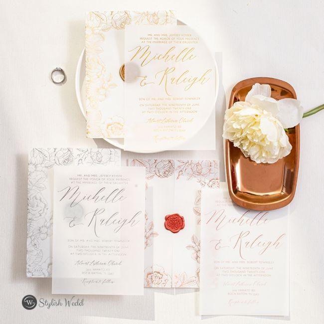 Elegantní svatební oznámení, svatební oznámení s pečetí