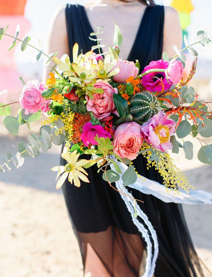 Letní svatební kytice s kaktusem