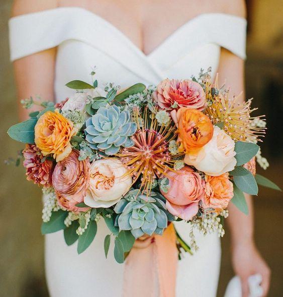 Svatební kytice se sukulenty