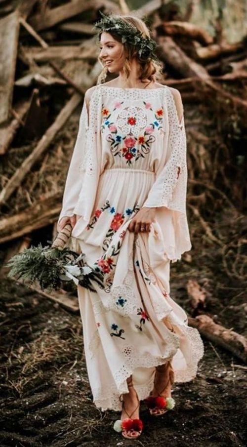 Květinové svatební šaty, boho svatební šaty